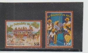 French Polynesia  Scott#  840-841  MNH  (2002 Polynesians at Festivals)