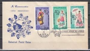 Philippines, Scott cat. 1226-1228. U.P.U. issue. Costumes. First day cover.