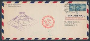 #C15 ON 1ST EUROPE PAN-AM ROUND FLT COVER NJ - S. AMERICA - GERMANY - NJ HV7630