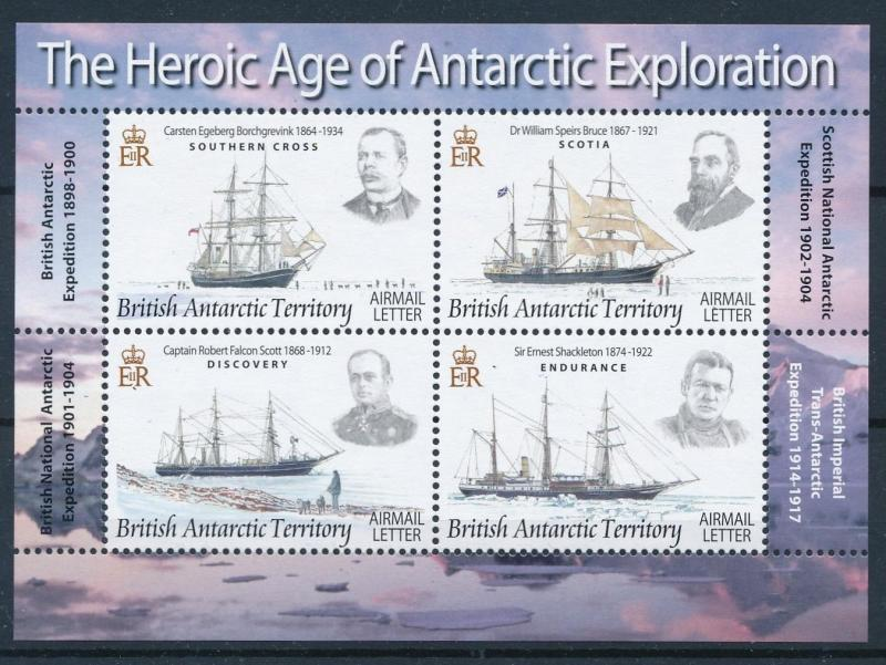 [81304] British Antarctic Territory 2008 Explorers Ships Boats Sheet MNH