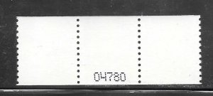 #2913 MNH Control #04780 on Back Strip of 3