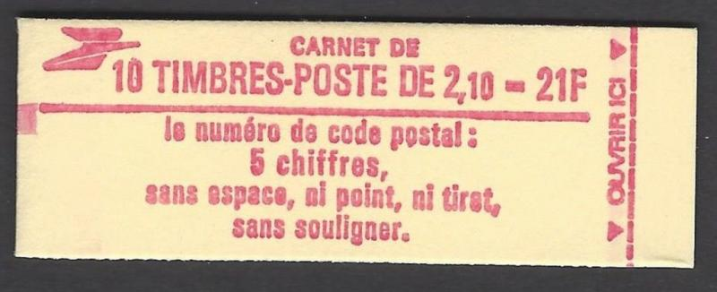 France 1983-7 Liberty 10 2.10 FR Unexploded Booklet VF MNH (1883 Red Cover)
