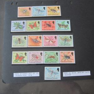 Falkland Islands 1984 Sc 387-401+388a Butterfly,Spiders set of 16 MNH