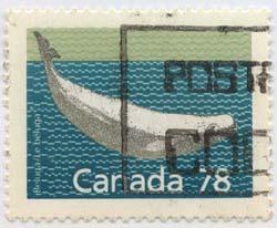 Canada USC #1179b Used Cat. $8.00 78c Beluga Whale Perf. 13.1