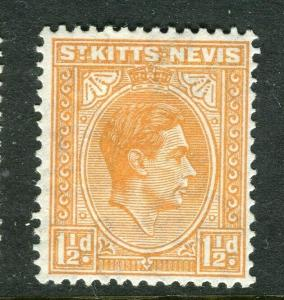 ST. KITTS; 1938 early GVI issue fine Mint hinged Shade of 1.5d. value