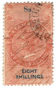 (I.B) New Zealand Revenue : Stamp Duty 8/- (reversed & inverted watermark)