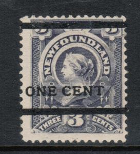 Newfoundland #76 Mint Never Hinged Type B Overprint **With Certificate**