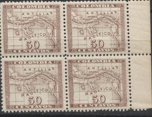 O) 1900 COLOMBIA, MAP COLON - ANTILLAS, PACIFICO, NICE REFER