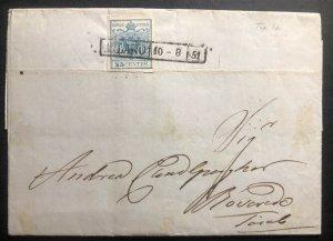 1851 Milan Austrian Empire Vintage Letter Cover To Bovardo