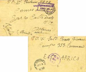 Kenya Uganda & Tanganyika Italy Prisoner of War Free Mail 1945 P.O.W. E.A.C. ...