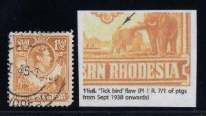 Northern Rhodesia, SG 30b, used Tick Bird Flaw variety
