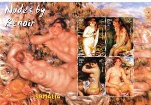 Somalia 2002 RENOIR Nudes Paintings Sheet (4) Perforated Mint (NH)