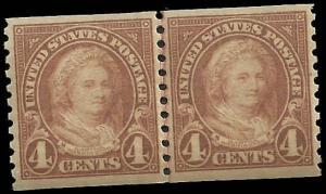 # 601 MNH - Line Pair - SCV-55.00 - Yellow Brown Martha Washington