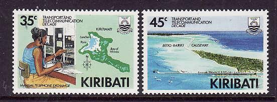 Kiribati-Sc#509-10-Unused NH set-Maps-Telecommunications-1988-