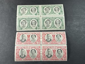 SOUTHERN RHODESIA # 65-66-MINT/NEVER HINGED--COMPLETE SET OF BLOCKS OF 4--1947