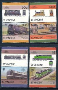St. Vincent MNH 961-4 Pairs Locomotives 1986 SCV 2.35
