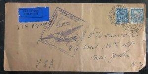 1939 Caislean Ireland First Flight Cover FFC To New York USA Via Foynes