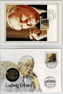 Germany 1988, Ludwig Erhard , coin cover