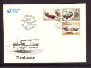Faroe Islands Sc158-60 1987 Fishing Trawlers stamps FDC
