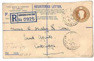 1941 GB Northumberland Registered Stationery RP52(F) *Kirkwhelpington* GN76