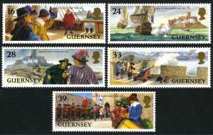 Guernsey 515-519, MNH. Siege of Castle Cornet, 1643-1651. Ships, 1993