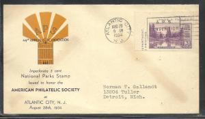 US #750a-4 APS Beverly Hills cachet addressed