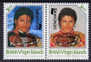 British Virgin Islands 1992 Michael Jackson ovpt.Halley's Comet/Genova Pair MNH