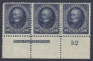 Scott #274Mint plate block of 3 with imprint