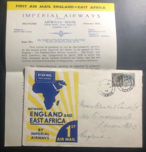 1931 Kisumu Kenya KUT First Flight Airmail Cover FFC To London England Imperial