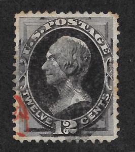 162 Used,  12c. Clay, Black & Red Cancel, VF/XF,  scv: $145