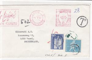 England to Switzerland 1967 Postings to Pay Machine Cancels Stamps Cover Rf25267
