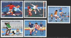 Ivory Coast. 1986. 913-17. FIFA World Cup in Mexico. MNH.
