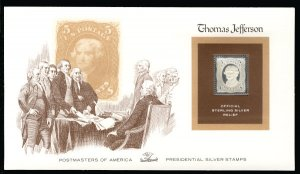 US US #76, Thomas Jefferson,  STERLING SILVER RELIEF Cover, fresh and clean, ...