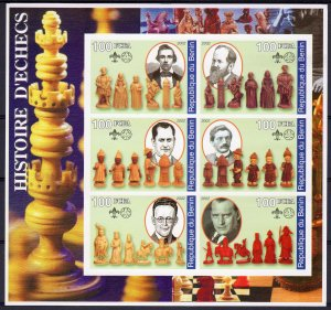 Benin 2002 HISTORY OF CHESS Sheetlet (6) IMPERFORATED  MNH