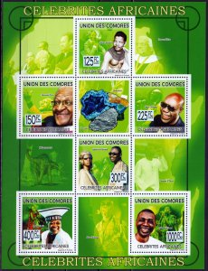 Comoro Islands. 2009. Small sheet 2224-29. Nobel laureates, dinosaurs, minera...
