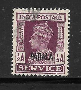 India Convention States Patiala #O65 Used Single
