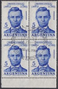 Argentina #712 FD Cancel on Block of Four - Lincoln