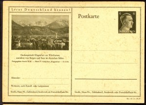 GERMANY 1941 6pf HITLER HEAD Learn to Know Germany Postal Card 41-3-1-B17 Unused