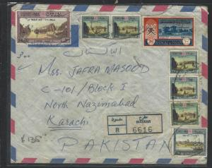 MUSCAT  (P2601BB)  8 STAMPS TO 100B REG A/M COVER TO PAKISTAN