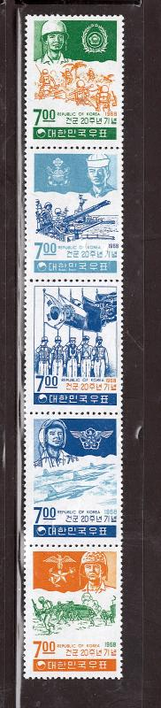 KOREA 1968 20th ANNIV. SOUTH KOREAN ARMY CREATION #610-614a MNH $49.50
