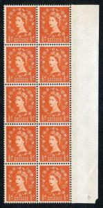 S9 1/2d Orange Red Crowns Wmk Green Phosphor U/M Block 10