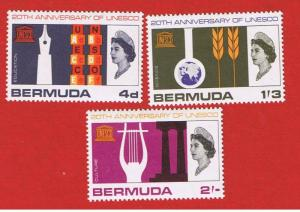 Bermuda #207-209 MVFLH OG   UNESCO Anniversary  Free S/H