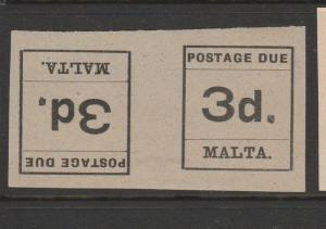 Malta 1925 postage Dues tete Beche pairs MM 3d SG D6a