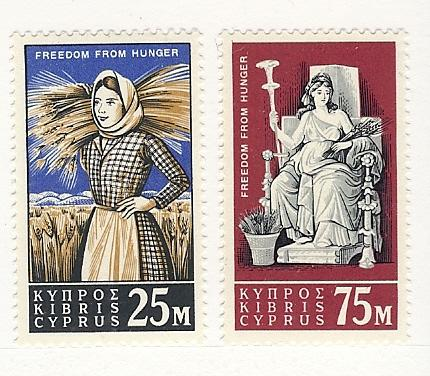 Cyprus, 222-23, Freedom from Hunger (FAO)s, Singles, MNH