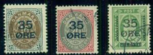 DENMARK #79-81, 35ore Surcharges, used, VF, Scott $255.00