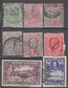 COLLECTION LOT OF #1017 SIERRA LEONE 8 STAMPS 1876+