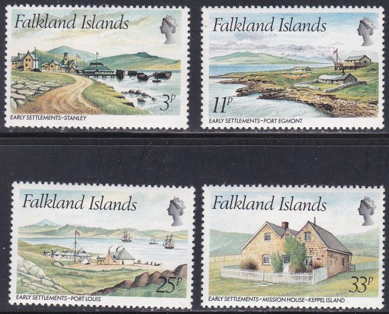 Falkland Islands # 310-313, Early Settlements, NH, 1/2 Cat.