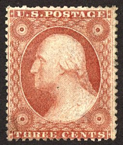 U.S. #26 MINT No Gum Faults, writing on back showing through Thins