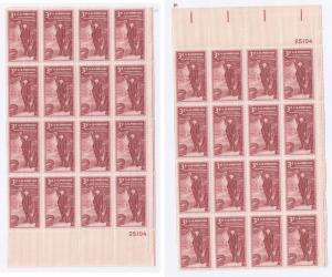 US Sc 1064 (2) Pl Blks 12 Academy Fine Arts MNH LR UR 25104