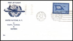 UN New York to Tampa,FL 1960 Eastern Airlines First Jet Flight Cover